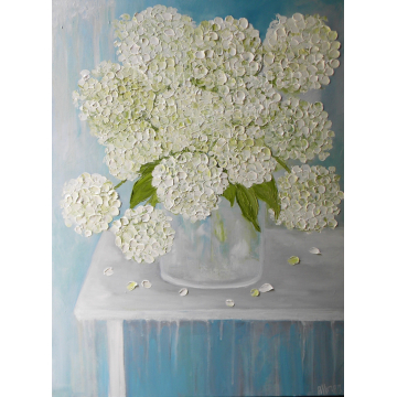 Custom Order Oil Painting, White Hydrangea Fine Art Oil Painting,  White Hydrangea, Fine Art,