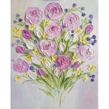 Soft Peony and Tulip Abstract Oil Impasto Painting, Impressionist Painting, Cottage Chic