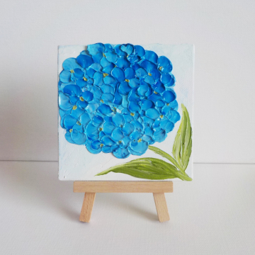 """Miniature Panel Blue Hydrangea 4""""x 4"""" Oil Impasto, Blue Hydrangea Painting with Easel, Gift boxed"""
