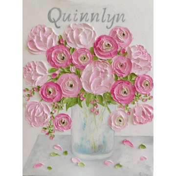 Baby Girls Nursery Oil Impasto Name Painting, Personalized Name Painting