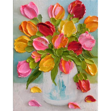 Custom Bright Tulip Oil Painting Impasto Painting , Tulip Original Painting,