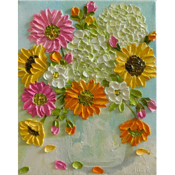 Gerbera Daisies, Hydrangeas and Sunflower Oil Impasto Painting, Custom Painting,