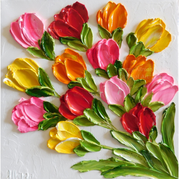 "Custom Bright Tulip Oil Painting Impasto Painting ,4"" x 4"" up to 12""x 12"" Tulip Oil Painting"