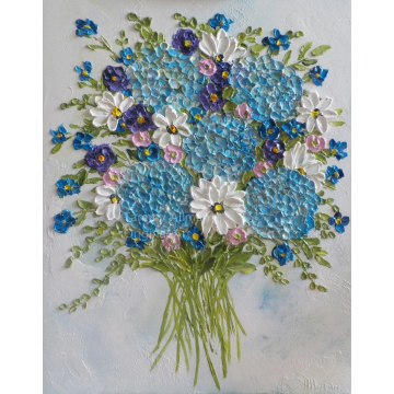 Whimsical Airy Bouquet of Hydrangeas and Wildflowers Oil Impasto Painting, Custom Oil Impasto Painting,