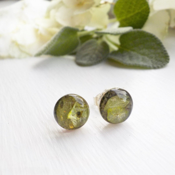 Sage and Thyme Eco Resin Sterling Silver Studs, Herbal Studs