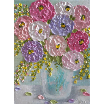 Impasto Mixed Zinnia Flower Painting, Impasto Oil Painting, Cottage Chic Bouquet, Ready to Ship