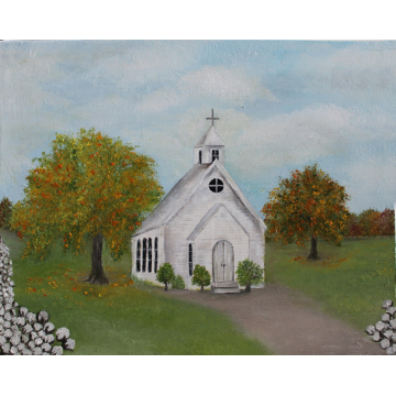 """Clone of Old Church and Cotton Field Oil Impasto Painting, """"Grace & Autumn Cotton"""", Custom Church Landscape"""